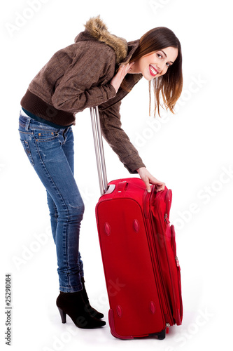 young lady unzipping her bag