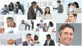 collage of businessmen and businesswomen footage
