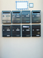 Mail boxes on a wall