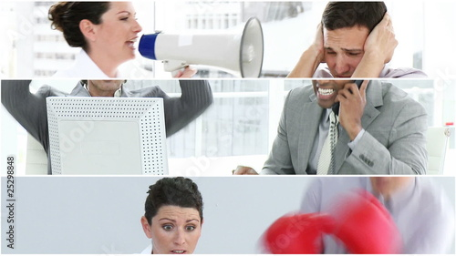 montage of three films representing stressed in workplace