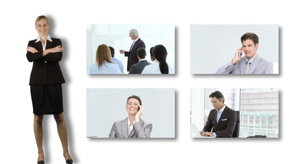 Businesswoman showing screens with business meeting