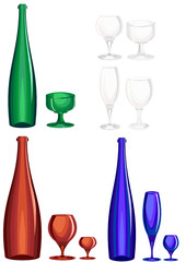 Blue, green and brown bottle and wine glass