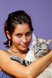 Girl and her beloved companion, cat with blue eyes poster