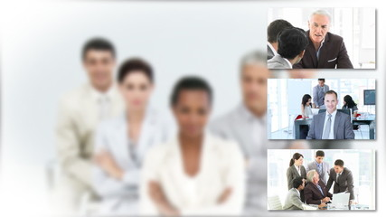 presentation of businessteam with blurred portrait on background
