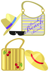 Beach set of straw hats, handbags and sunglasses