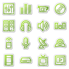 Audio video web icons, green sticker series