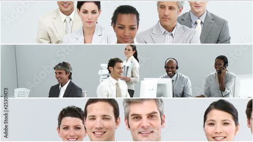collage of multi-ethnic businessteam portrait