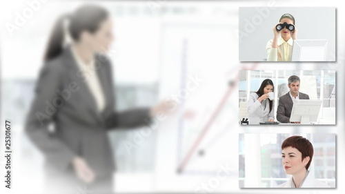 collage of businesswomen with blurred background