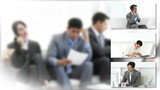 Conceptual montage of businessmen in the workplace