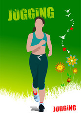 Green summer  poster with jogging woman. Vector illustration
