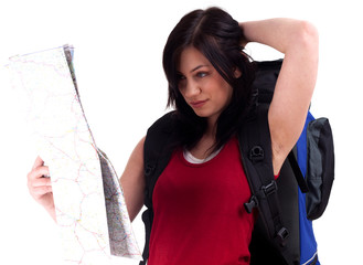 young female tourist with backpack and map