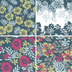 Hibiscus seamless patterns