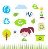 Recycle, nature and ecology icons isolated on white