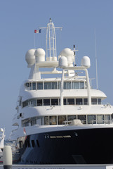 Super yacht in Cannes Harbour. Cote d'Azur. France