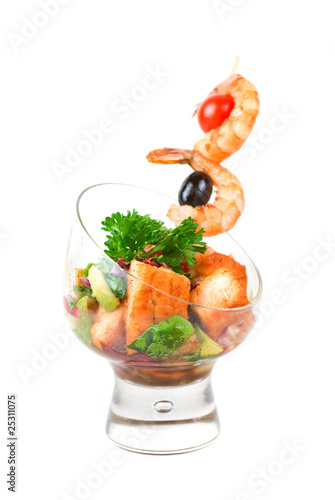 Fried kebab of shrimps and fish
