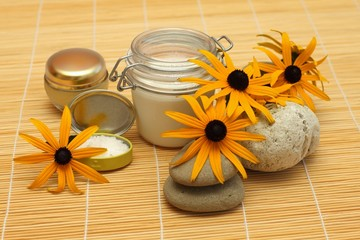 Cosmetics creams, sea salt, pumice stone