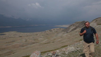 Mountain Hiking in Mongolian Altai at Khoton Nuur lake
