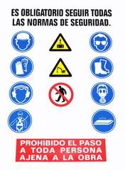 Cartel con normas de seguridad