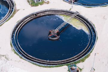 Big sedimentation drainage. Water recycling, settling