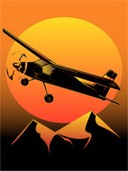 illustration of light aircraft at sunset