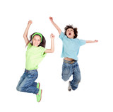 Fototapety Two happy children jumping at once