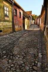 Medieval cobblestone paving