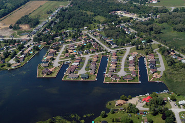 Aerial view of North American subdivision on the lake