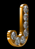 Golden J letter incrusted with diamonds