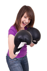 young woman with boxing gloves