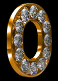 Golden O letter incrusted with diamonds