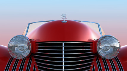 Front view of red retro car