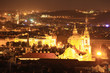 The night View on bright Prague with St. Nicholas' Cathedral