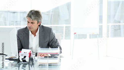 successful businessman working on computer