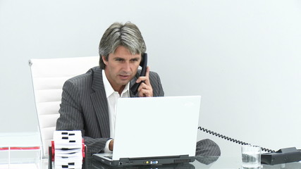 ceo answering phone in his office