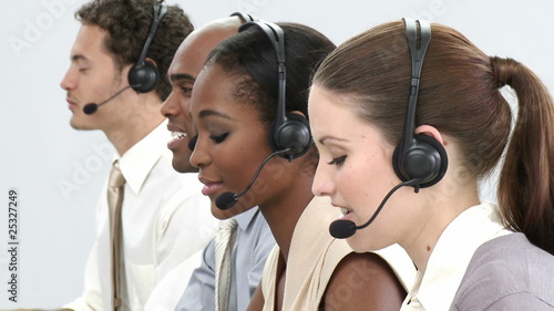 Business group showing ethnic diversity in a call center