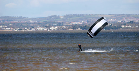 kitesurfer on River Exe