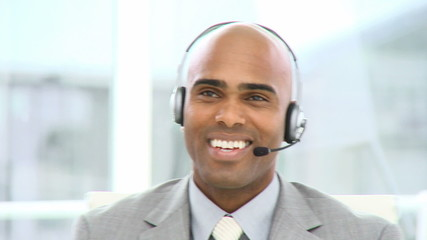 charming man with headset on