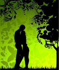 Vector silhouette of lovers on a background with butterflies