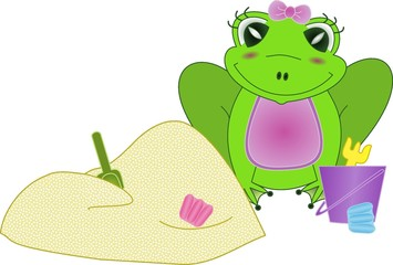 Little frog in sandbox