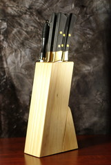 Knife block on wooden table