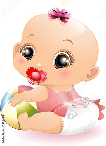 Bebè con Pallone-Baby Playing with Ball-2-Vector