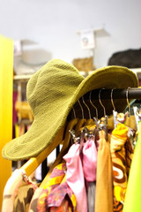 Summer hat in the store