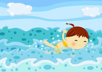 bambina nuota in mare aperto