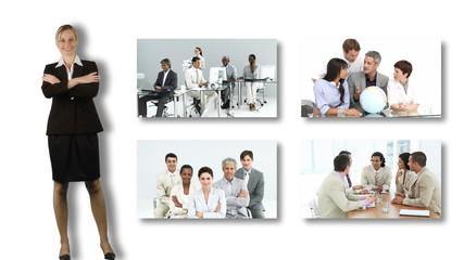 businesswoam presenting businesteam footage