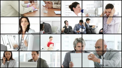 collage showing angry businesspeople