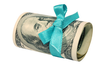 Roll of dollars with a blue bow