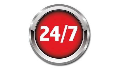 Button - 24 Stunden, 7 Tage die Woche