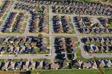 Aerial view of North American suburban neighborhoods