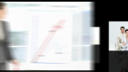 montage of business presentation films against black background