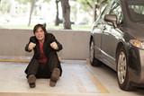 Man pretending to drive a car poster